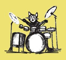 Drummer Cat Kids Tee