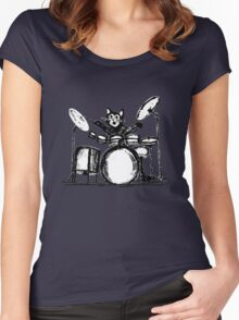 Drummer Cat Women's Fitted Scoop T-Shirt
