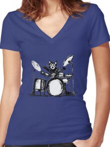 Drummer Cat Women's Fitted V-Neck T-Shirt