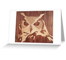 Wooden cute owl picture art Greeting Card