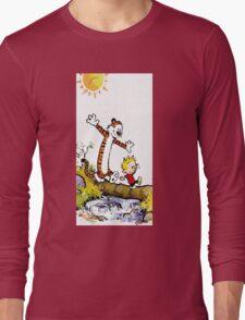 calvin and hobbes wait Long Sleeve T-Shirt