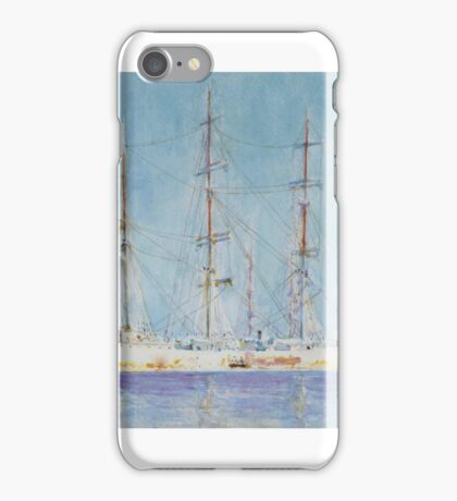 Henry Scott Tuke,  BRITISH , A FRENCH SQUARE-RIGGED SHIP AT ANCHOR iPhone Case/Skin