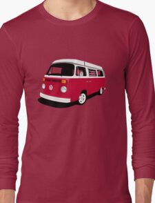 VW Camper Late Bay dark red and white Long Sleeve T-Shirt