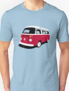 VW Camper Late Bay dark red and white Unisex T-Shirt