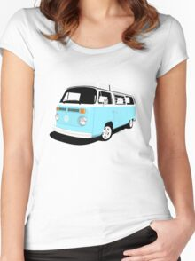 VW Camper Late Bay pale blue and white Women's Fitted Scoop T-Shirt