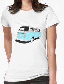 VW Camper Late Bay pale blue and white Womens Fitted T-Shirt