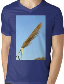 flowering Reed growing on the a River blue sky background Mens V-Neck T-Shirt