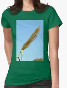 flowering Reed growing on the a River blue sky background Womens Fitted T-Shirt