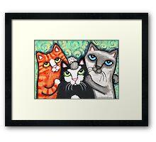 Siamese Tabby and Tuxedo Cats Posing Art Print Framed Print
