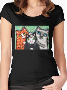 Siamese Tabby and Tuxedo Cats Posing Art Print Women's Fitted Scoop T-Shirt