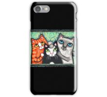 Siamese Tabby and Tuxedo Cats Posing T-Shirt  iPhone Case/Skin