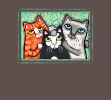 Siamese Tabby and Tuxedo Cats Posing T-Shirt  Womens Fitted T-Shirt