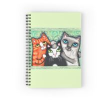 Siamese Tabby and Tuxedo Cats Posing T-Shirt  Spiral Notebook