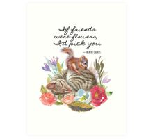 Unusual Animal Friendship Cat and Squirrel Art Print
