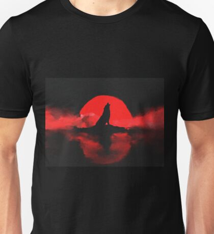 Wolf Wolves Blood Moon Lake Clouds Howling Unisex T-Shirt