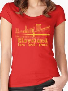 Heritage Park reflecting in the Cuyahoga river. Women's Fitted Scoop T-Shirt
