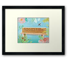 L. Brown Earth Quote Bench Art Framed Print