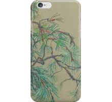 Pine-tree branch, impressionistic art, nature, green shades iPhone Case/Skin