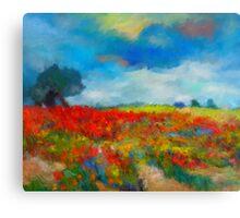 Landscape Wildflowers Clouds Tree Impressionist Canvas Print