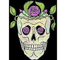 Pirate skull with flowers wreath vector illustration. Photographic Print