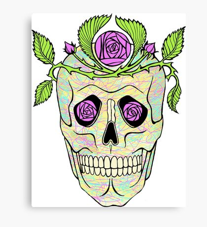 Vintage pirate skull with flowers wreath vector illustration. Canvas Print