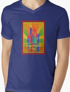 Happy Father's Day Dreamboat Cubist Junk In Primary Colors Mens V-Neck T-Shirt