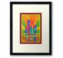 Happy Father's Day Dreamboat Cubist Junk In Primary Colors Framed Print