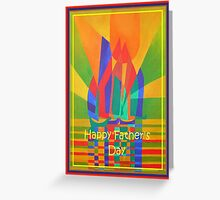 Happy Father's Day Dreamboat Cubist Junk In Primary Colors Greeting Card