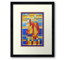 Happy Father's Day Sailing on the Seven Seas so Blue Cubist Abstract Framed Print