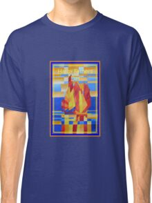 Happy Father's Day Sailing on the Seven Seas so Blue Cubist Abstract Classic T-Shirt