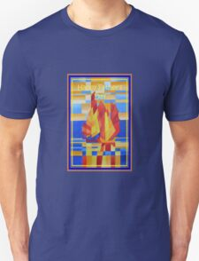 Happy Father's Day Sailing on the Seven Seas so Blue Cubist Abstract T-Shirt
