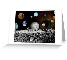 Montage of the planets and Jupiter's moons. Greeting Card