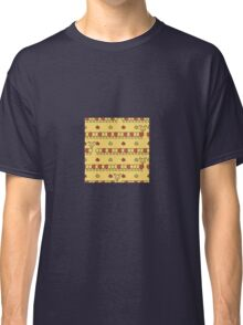 Red and yellow seamless background of funny caterpillars and flowers Classic T-Shirt