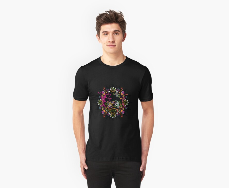 Aztec meeting psychedelic T-shirt by Andrei Verner