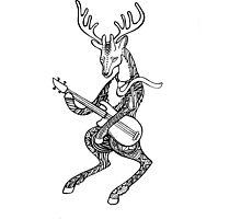 Ornamented Deer bass player. Animal playing music. Deer and bass guitar. Photographic Print