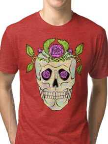 Vintage pirate skull with flowers wreath vector illustration. Tri-blend T-Shirt