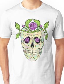 Vintage pirate skull with flowers wreath vector illustration. Unisex T-Shirt