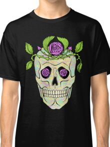 Pirate skull with flowers wreath vector illustration. Classic T-Shirt