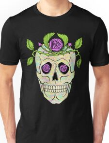 Pirate skull with flowers wreath vector illustration. Unisex T-Shirt