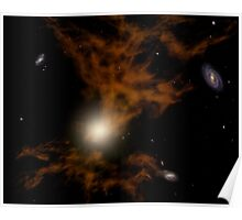 A supermassive black hole in the galaxy's core. Poster