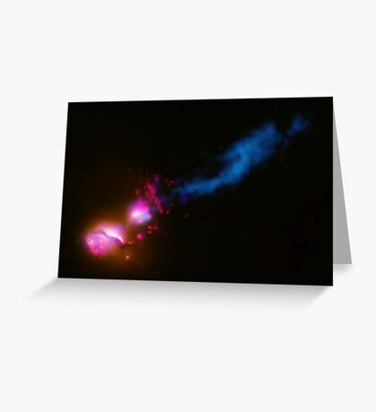A powerful jet from a supermassive black hole is blasting a nearby galaxy. Greeting Card