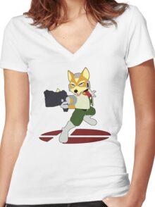 Fox - Super Smash Bros Melee Women's Fitted V-Neck T-Shirt