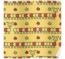 Red and yellow seamless background of funny caterpillars and flowers Poster