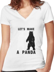 Let's Make A Panda Women's Fitted V-Neck T-Shirt
