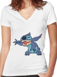 STITCH SAYING HELLO Women's Fitted V-Neck T-Shirt