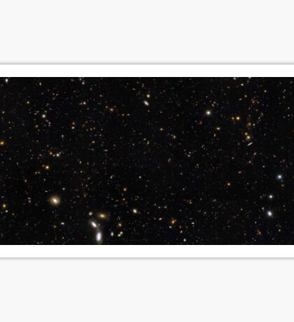 A panoramic view of over 7,500 galaxies stretching back through most of the universe's history. Sticker