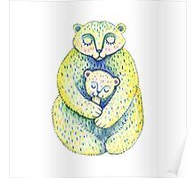Mother bear and a small bear. Cute family. Cartoon style. Mother's Day illustration. Poster