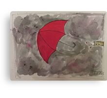 The Red flying Umbrella -Der fliegende rote Regenschirm Canvas Print