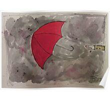 The Red flying Umbrella -Der fliegende rote Regenschirm Poster