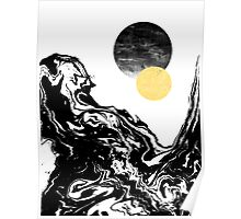 Eugenia - water ocean marble swirl black and white gold foil galaxy planet star space cosmic Poster